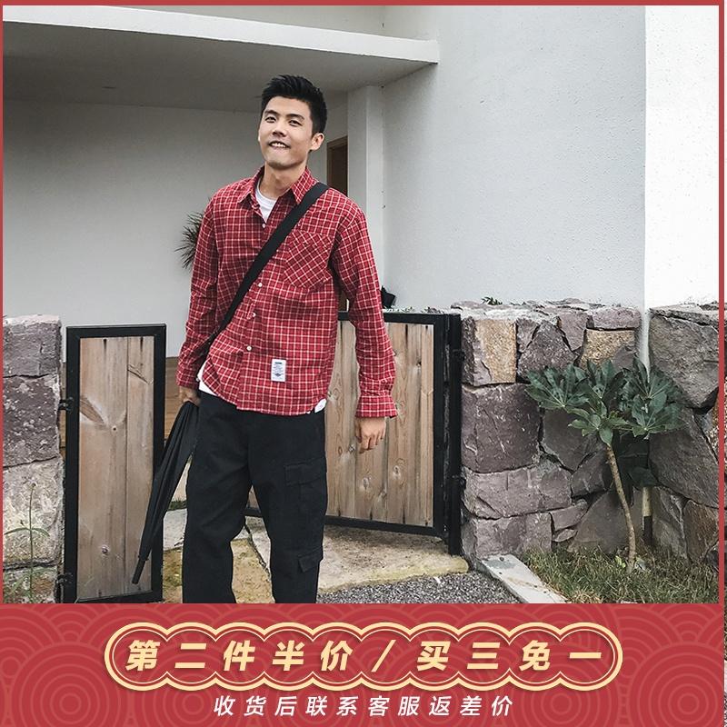 美式休闲宽松格子长袖衬衫男春季复古文艺学院风青年休闲百搭衬衣