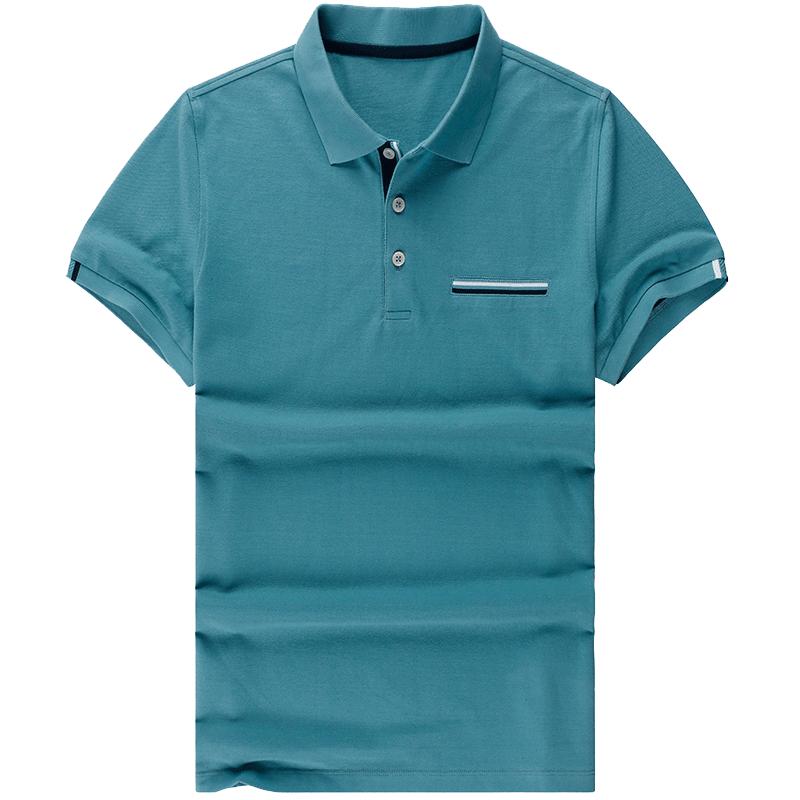 布先生 蓝色翻领polo衫男短袖 帅气青年男夏装商务型男t恤AT10075