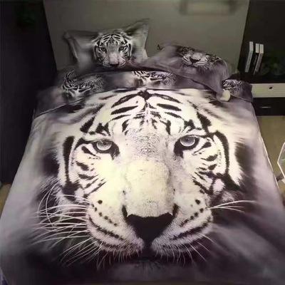 3d个性立体床单四件套 老虎狮子狼动物双人被套1.5/1.8米床上用品