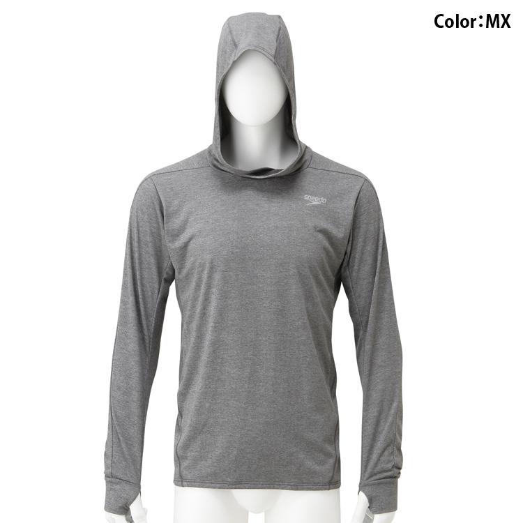 日本JP版Speedo/速比涛男款运动游泳套头连帽薄款长袖卫衣SD18F51