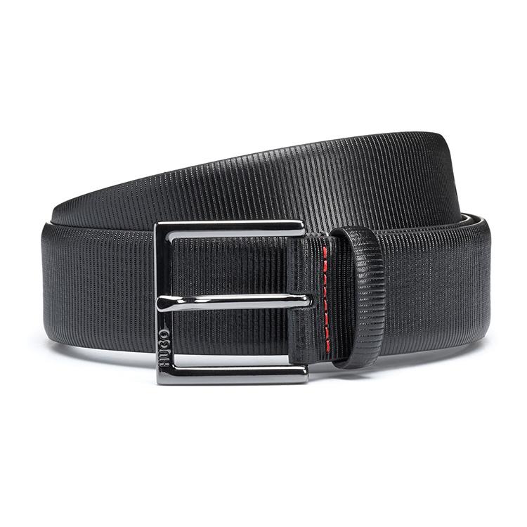 新品HUGO BOSS德国原装男士手工皮带针扣腰带竖条纹压花纯牛皮