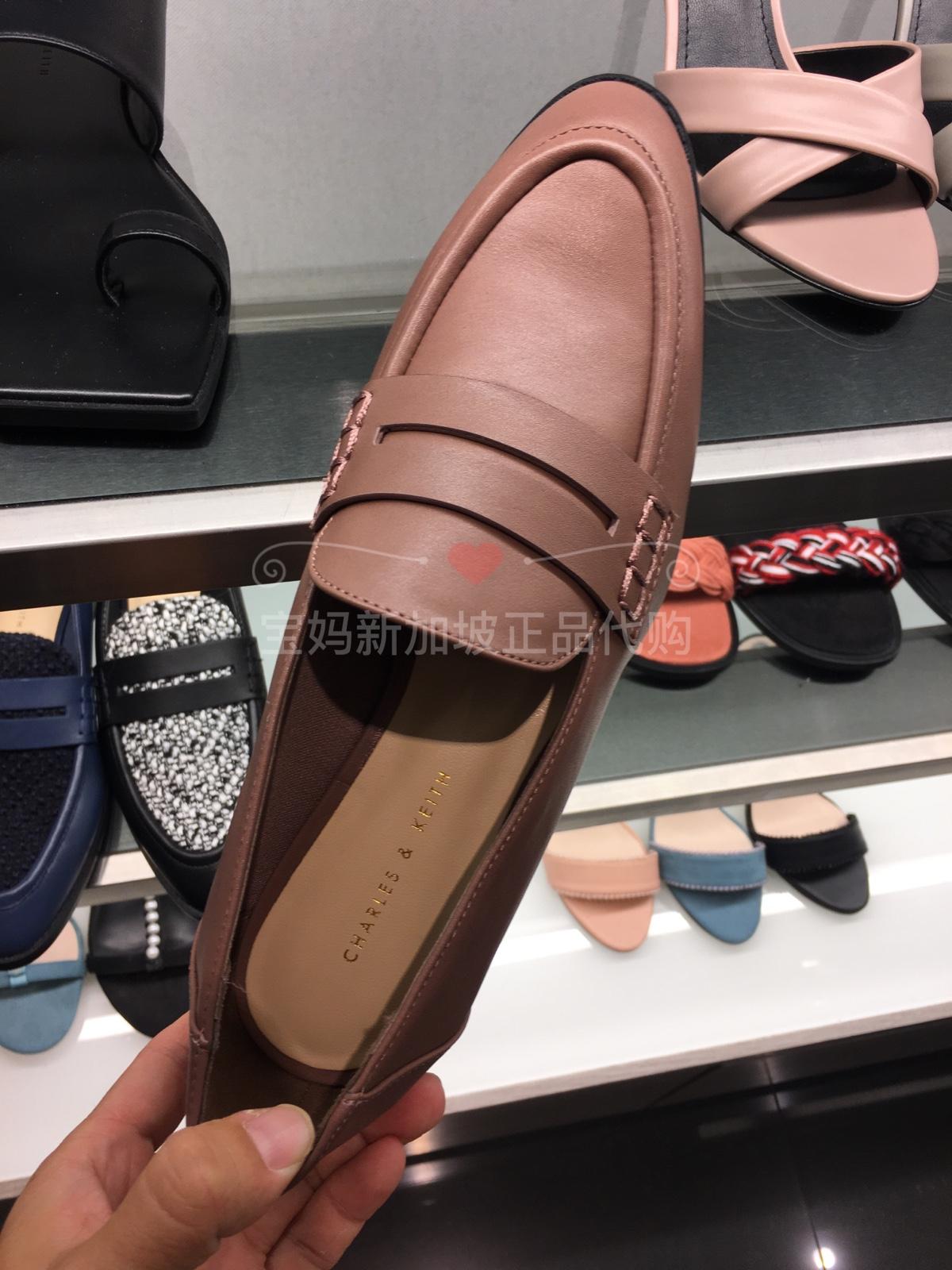 新加坡代CHARLES&KEITH乐福鞋小CK1-70380695女一脚蹬平底单鞋