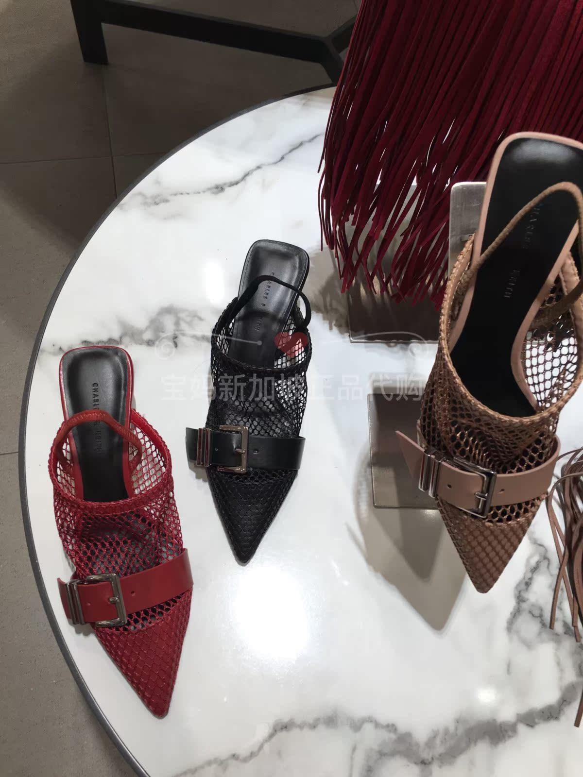 CHARLES&KEITH春夏凉鞋CK1-60580103方扣尖头网面高跟单鞋