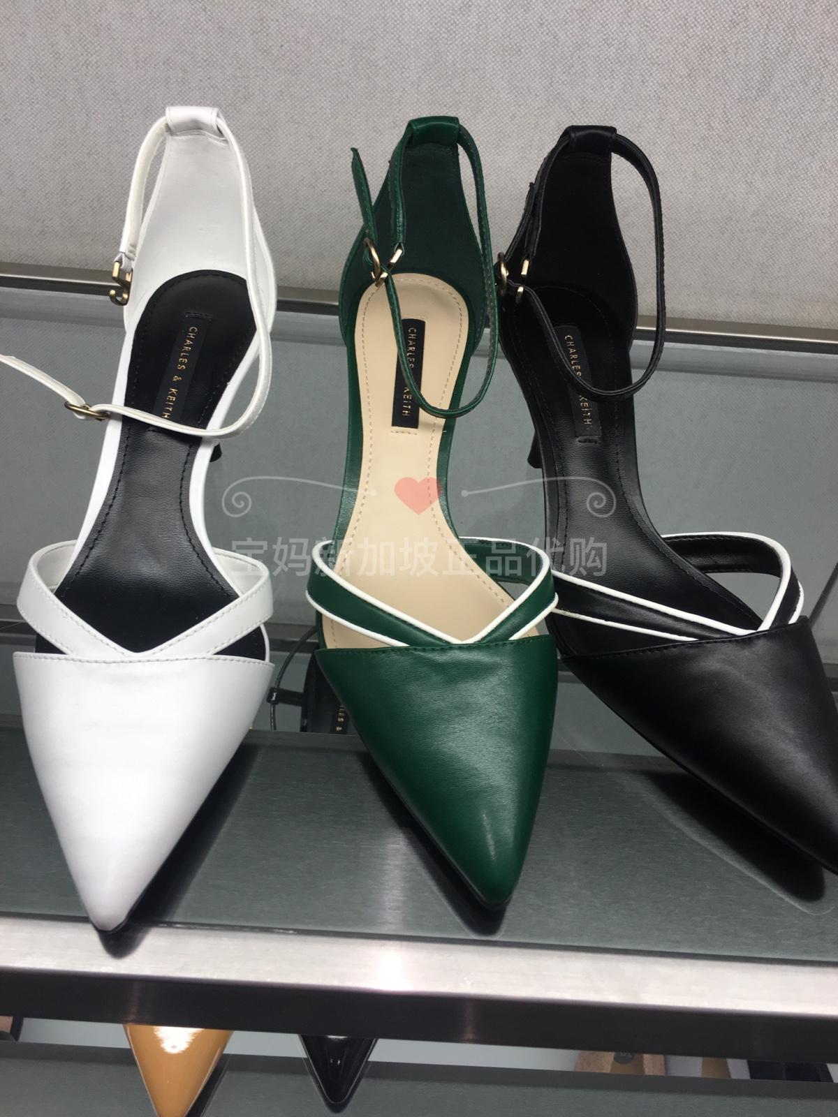 新加坡CHARLES&KEITH女鞋CK1-60361099尖头V形鞋身踝带高跟鞋