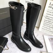 高筒靴女秋冬新款侧拉链真皮靴链条厚底马靴骑士靴不过膝长靴子潮