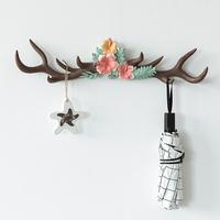 鹿角墙面装饰挂钩壁挂衣帽钩ins北欧风门口挂钥匙架收纳墙上创意