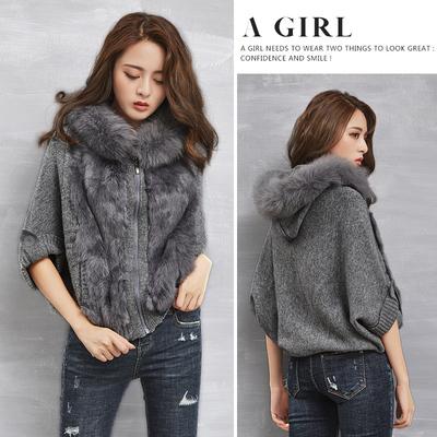 欧洲站毛衣外套女短款蝙蝠袖兔毛毛衣宽松显瘦连帽大毛领针织开衫