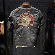 MR European and American Street Embroidery Collar Windbreak Waterproof Outer Wear Thermal Shirt Men's Harley Locomotive Leather Coat