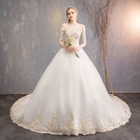 The main wedding dress new 2019 Korean version of a word shoulder long sleeves trailing Slim large size was thin Qi wedding spring