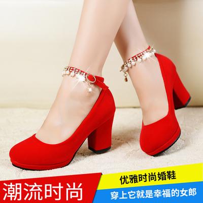 新娘鞋中式大红色新娘高跟结婚鞋春秋季女单鞋大小码粗跟绒面婚鞋