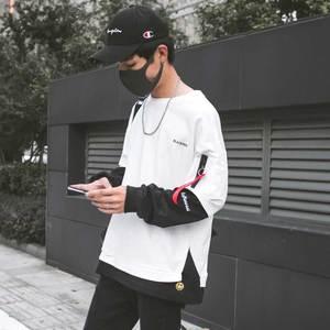 秋季男士长袖T恤韩版嘻哈bf卫衣ins宽松假两件秋装上衣秋衣潮衣服