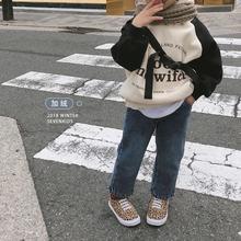 柒号童仓2018冬装新款儿童加绒直筒牛仔裤韩国网红裤休闲裤潮