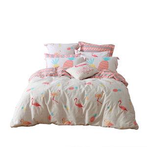 多喜爱简约床上用品全棉四件套纯棉套件床单被套ins风粉红弗洛拉