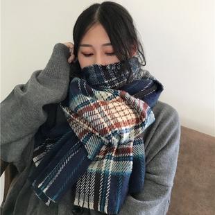 韩版女秋冬天加厚围巾日系百搭学生格子披肩大长款保暖仿羊绒围脖