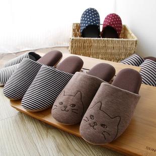 日式秋冬家居拖鞋 男女室内地板无声软底静音可爱家用情侣棉拖鞋