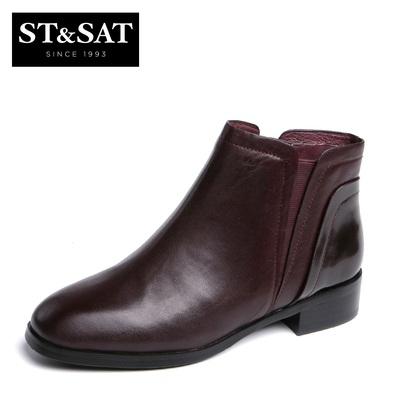 St&Sat/星期六秋冬新款牛皮中跟松紧短靴女鞋SS54112768