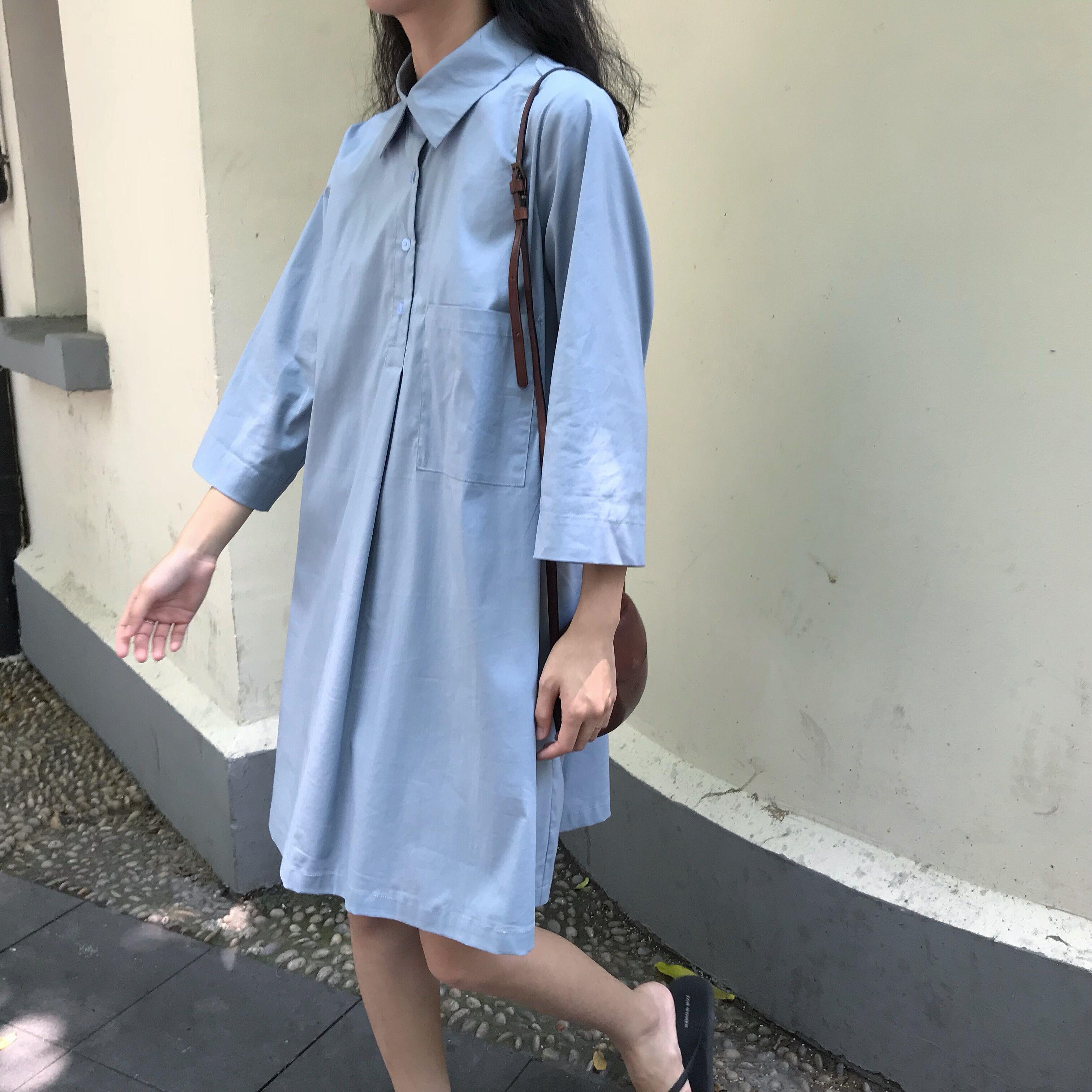 im向自制 必入款啦 ! 单排扣压褶套头POLO领中袖衬衫裙A字裙短裙