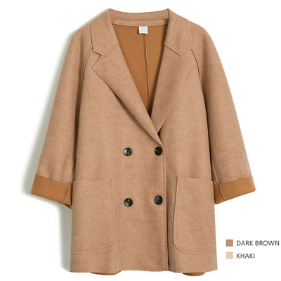 欧美气质双排扣西装领中长款毛呢外套女宽松风衣秋冬茧型呢子大衣