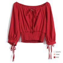 双击美美哒~浮点一字肩收腰系带蜜酱红短上衣女高腰系带衬衣春装