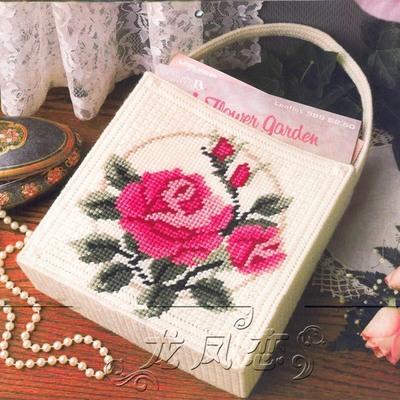 立体绣5D十字绣新款客厅女款印花钻石画粗毛线绣大玫瑰拎包H45