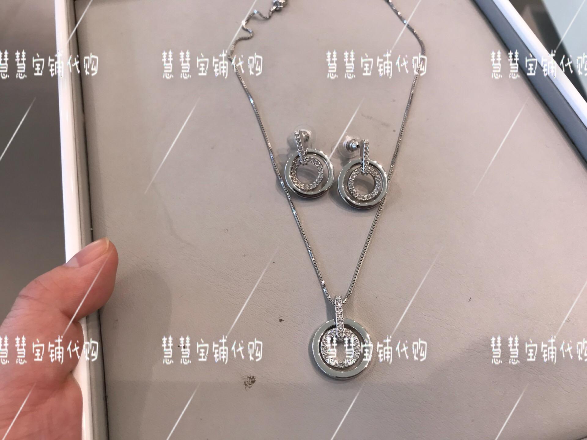 代购专柜正品SWAROVSKI施华洛世奇银色圆圈水晶套装860642