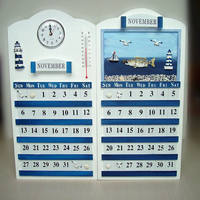 Mediterranean Ocean Series Calendar Cards Wooden Perpetual Calendar Handmade Old Wall Calendars Wall Decorations Home Decor