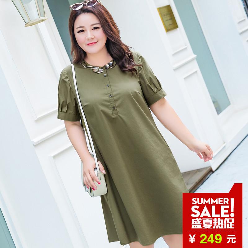 MsShe加大码女装2018新款夏装 金属钉珠军绿色弹力衬衫裙M1823253