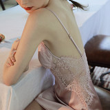 Good night time sexy small breast pajamas women lace hollow silk silk satin home wear strap-strap breast pad