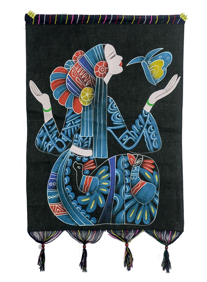 广西少数民族手工艺术蜡染壁挂90*56CM 茶楼酒吧客栈装饰挂件礼品