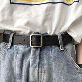 韩国2019年新款 皮带正方形哑光银色实心扣头黑腰带chic风宽女士潮
