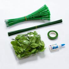 缎带丝带玫瑰花纸花丝袜网花 DIY手工材料仿真花杆绿色胶包花杆子