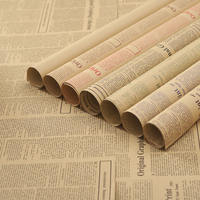 English newspaper retro nostalgic kraft paper double-sided background paper bag book paper gift flowers bunch wrapping paper wrapping paper