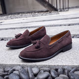 Fringe Lok Fu shoes men's lazy one foot 蹬 British trend summer breathable Korean version of the leather suede fleece casual shoes