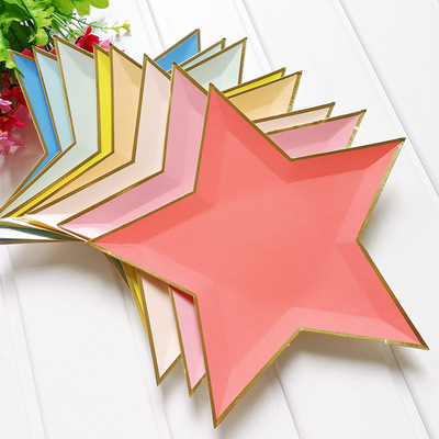 Gold Foil Star Paper Plates Party Dish Tableware 五角星纸盘