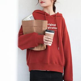 「Misaz x 11.11」 - 可爱的字母帽子卫衣/带有薄绒 红色