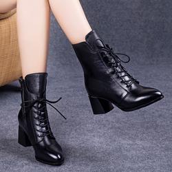 马丁靴女2019新款秋冬季高跟粗跟短靴女系带加绒真皮鞋瘦瘦棉靴子