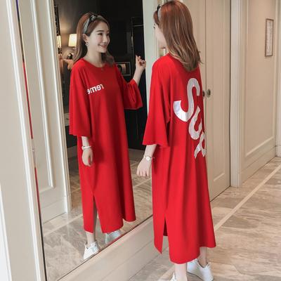 红色宽松纯棉长裙过膝开叉后背印花长款短袖睡裙女大码连衣裙韩版