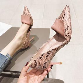 欧美尖头高跟鞋细跟单鞋女蛇纹工作鞋法式职业通勤细高跟夜店女鞋