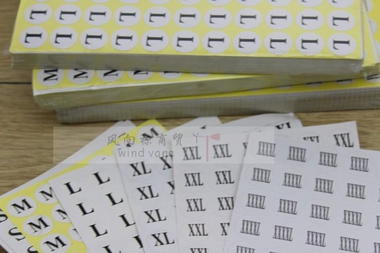 服装辅料 衣服标签 XS~XXXXL 尺码标 不干胶尺码贴纸 0.2元每张