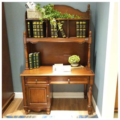 实木转角书桌带书架