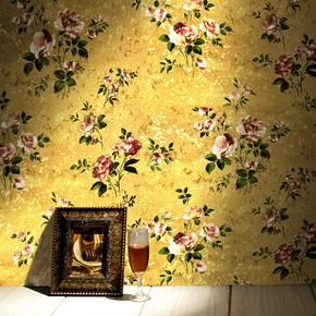金色田园小花壁纸奢华简欧式卧室客厅金箔复古美式服装店pvc墙纸