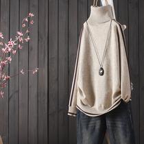 重工绞花全羊毛箱型蝙蝠袖针织衫复古情愫茉莉雅集MLEZT553