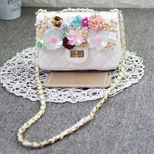 Thai Chao Brand Spring 2019 New Chao Lady with Water Diamond Pearl Stereo Flowers One Shoulder Slant Small Square Bag