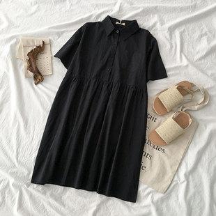 小个子翻领短袖连衣裙夏季2019新款女装韩版学生流行单排扣短裙子
