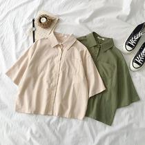 ins百搭开衫衬衣夏季2019新款女装韩版女学生短袖翻领衬衫外套潮