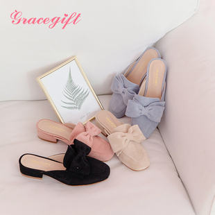 Grace gift穆勒鞋女可爱蝴蝶结小方头半拖鞋粗跟2018夏季新品女鞋