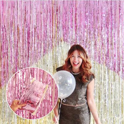 雨丝流苏门帘婚房生日派对布置背景墙 粉色舞台装饰用品婚庆拉花