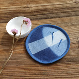 Blue words popular coaster tea ceremony tie-dye hand-painted round tea mat bamboo knot insulation pad small fish rabbit 蜻蜓 cotton and linen