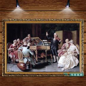 现代新古典欧美式装饰挂画客厅玄关壁画酒店挂画宫廷贵族人物油画