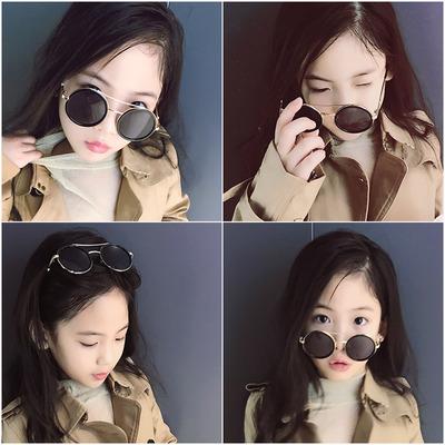 新款男女童平光眼镜韩版宝宝小孩个性太阳镜儿童墨镜圆框复古演出
